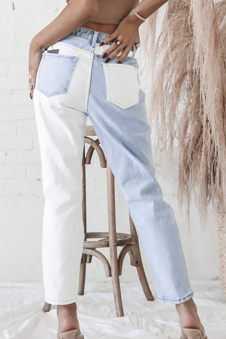 Don't Wait Up Denim And White Colorblock Jeans