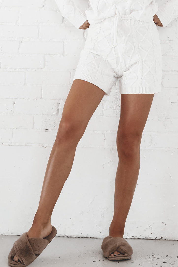 Ice Ice Baby Ivory Quilted Shorts