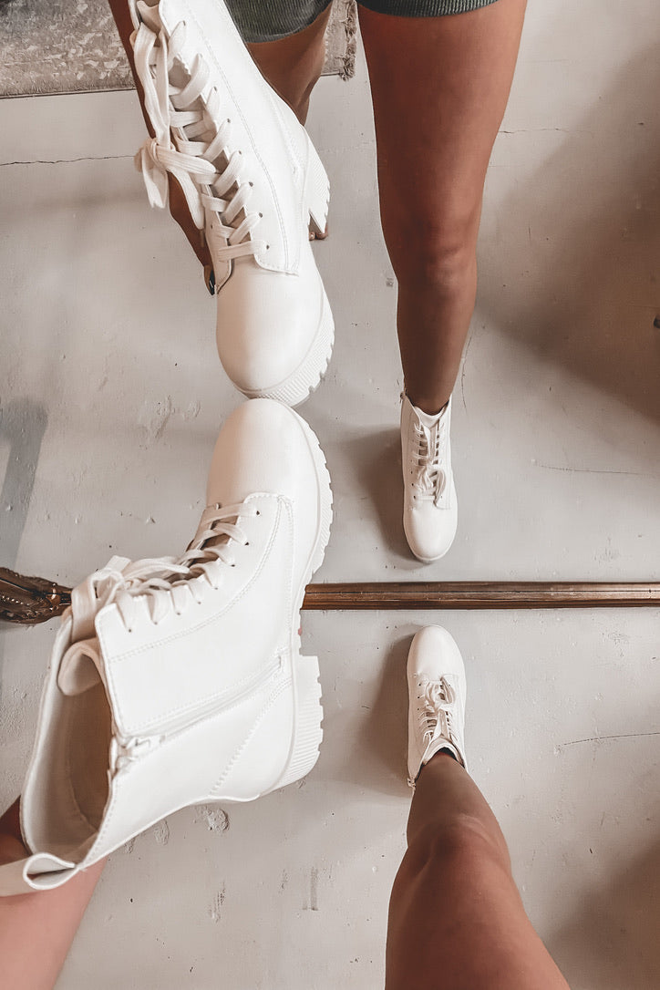 Love Game White Platform Lace Up Boots
