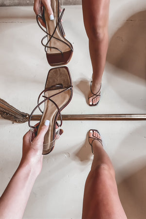 Nice Date Night Chocolate Strappy Heels