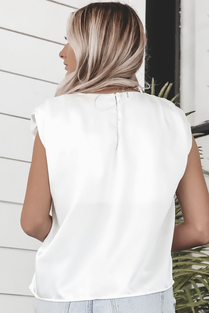 Chip On My Shoulder White Satin Sleeveless Top