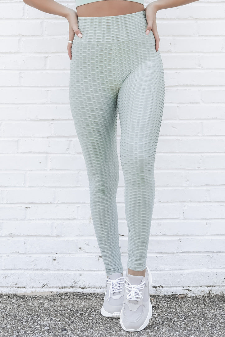 You Go Girl Pistachio Textured Leggings