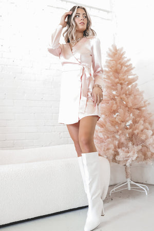 Proper Attire Pink Satin Wrap Dress