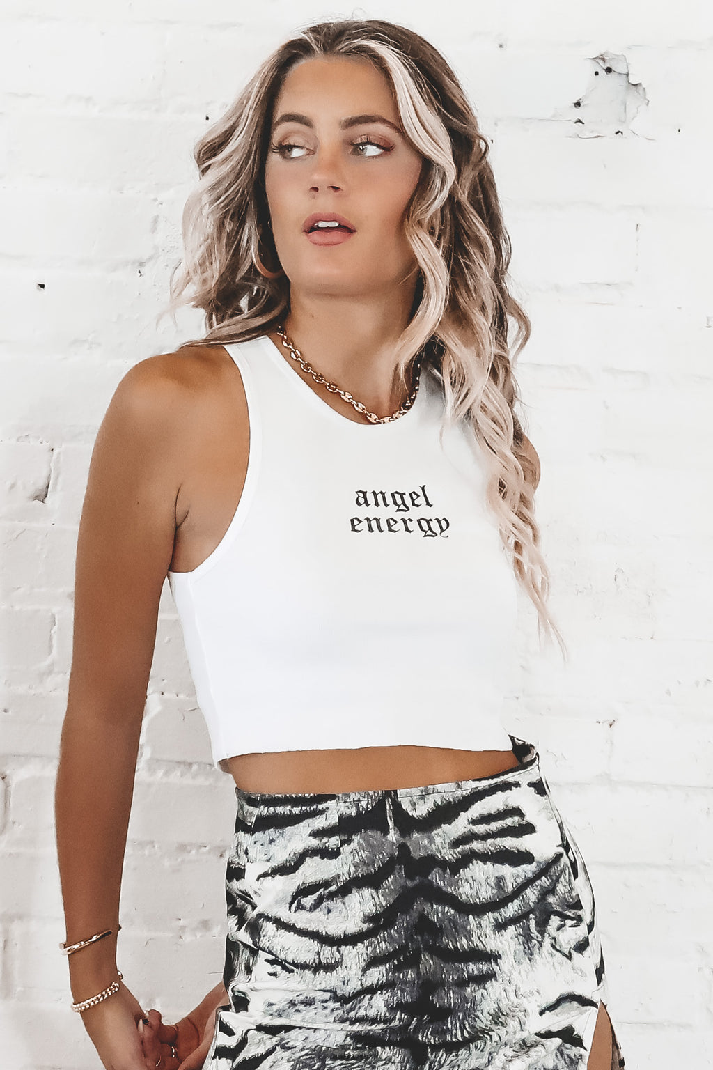 MOTEL White Givas Crop Top In Angel Energy