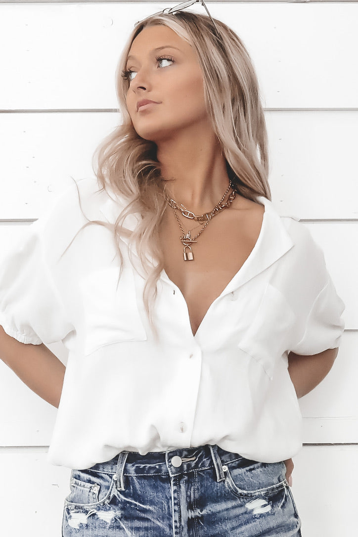 You're So Golden White Short Sleeve Bodysuit
