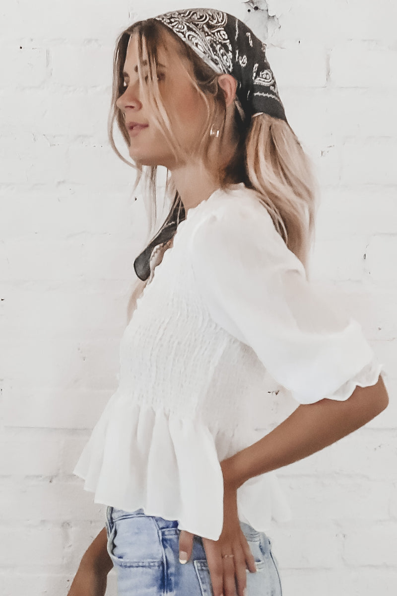 Wishful Thinking White Ruching Top