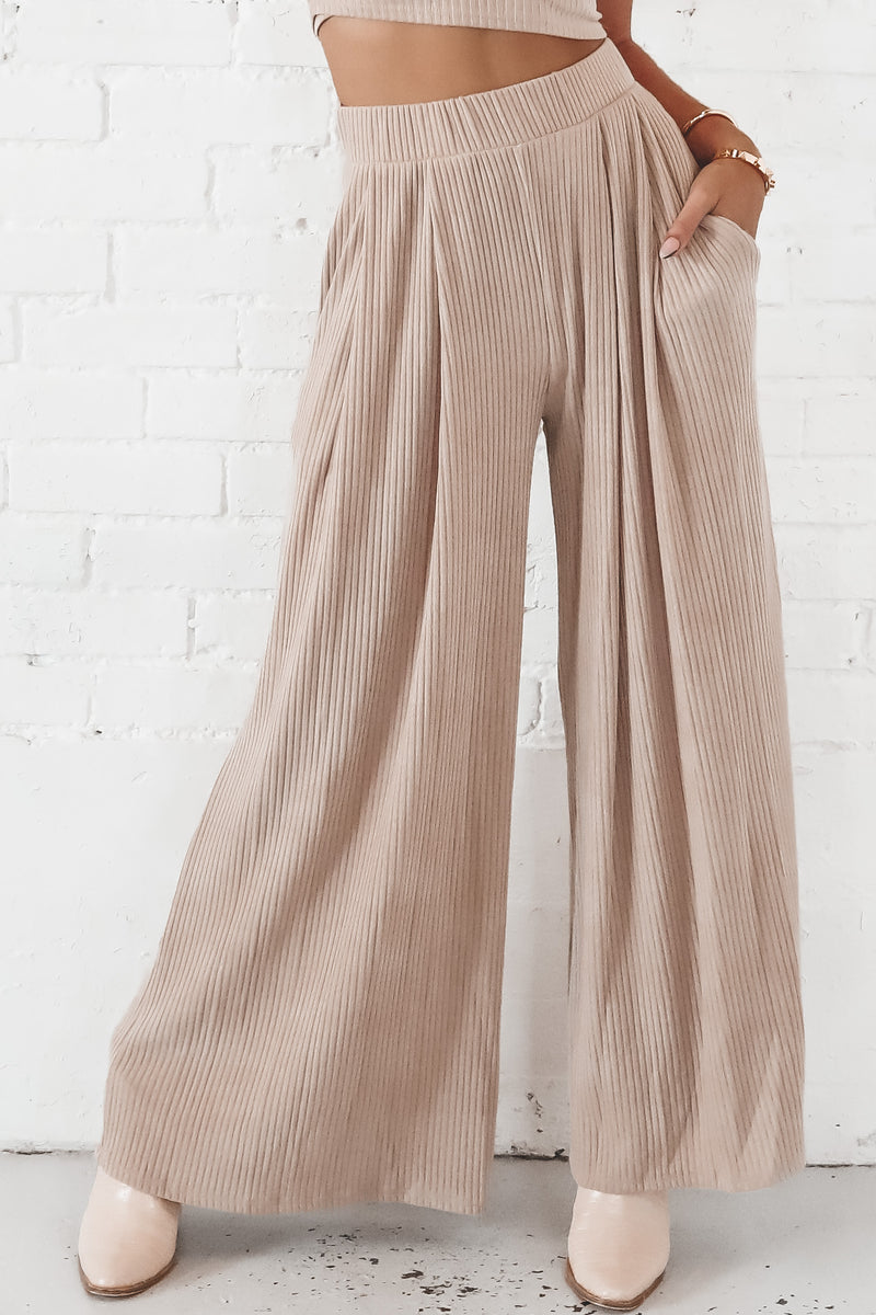 Don't Tell Mocha Ribbed Wide Leg Pants