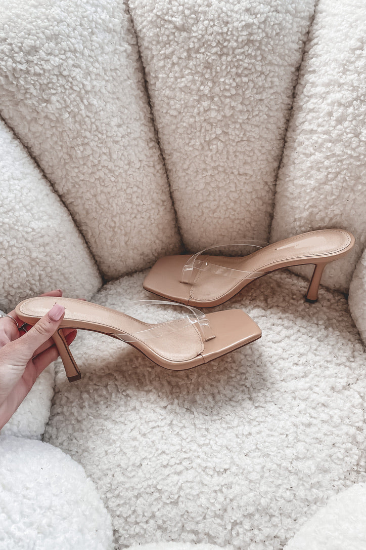 News Flash Clear Nude Heels