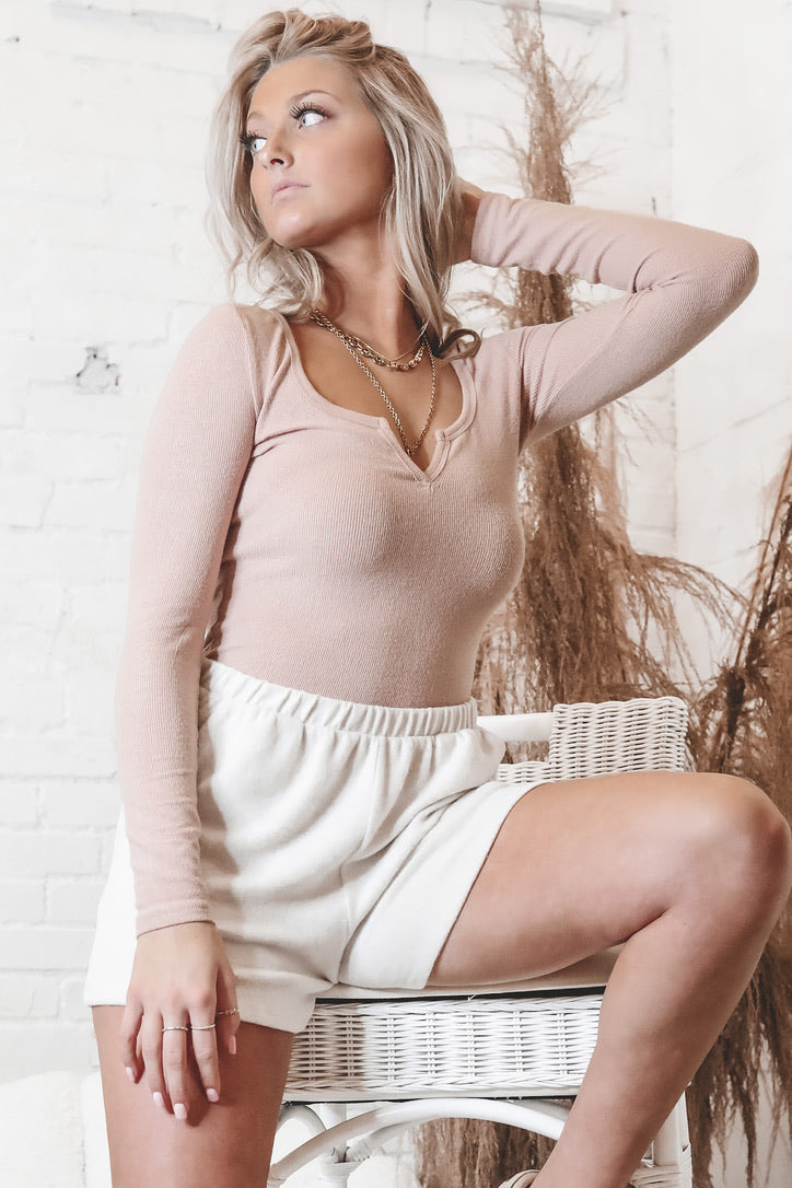 Hangin' Out Beige Pink Long Sleeve Top