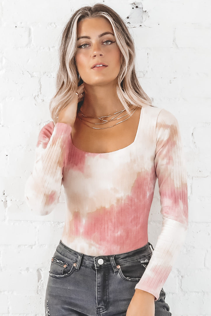 Lost In Your Eyes Pink Tie Dye Square Neck Bodysuit
