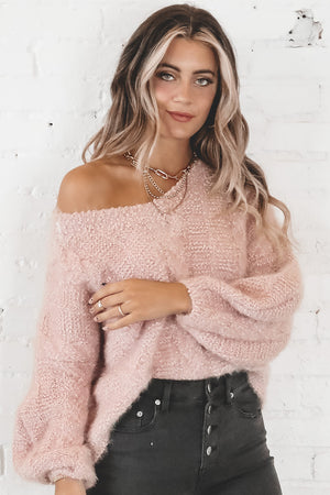 Pink Snow Balloon Sleeve Sweater