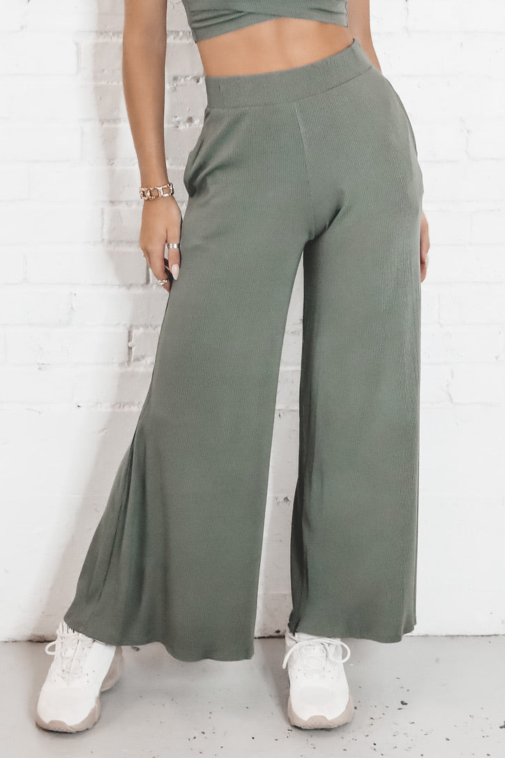 Here We Go Again Olive Wide Leg Pants