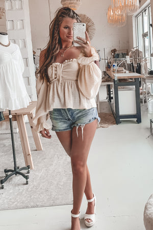 Backyard Beach Butter Off The Shoulder Top