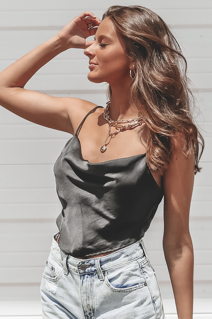 See You In The Summer Black Satin Scarf Top