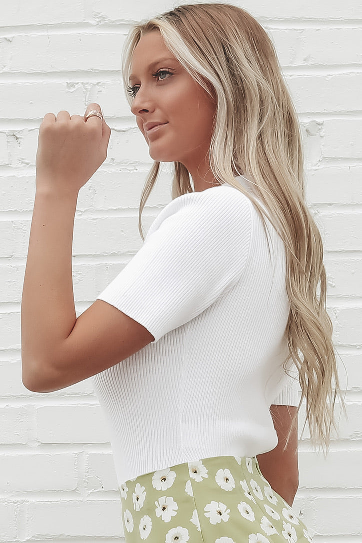 Business Casual Ribbed White Bodysuit
