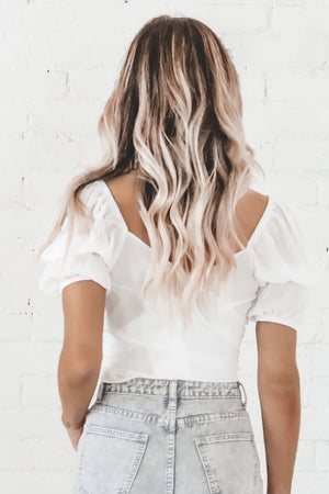 Tongue Tied White Wrap Top