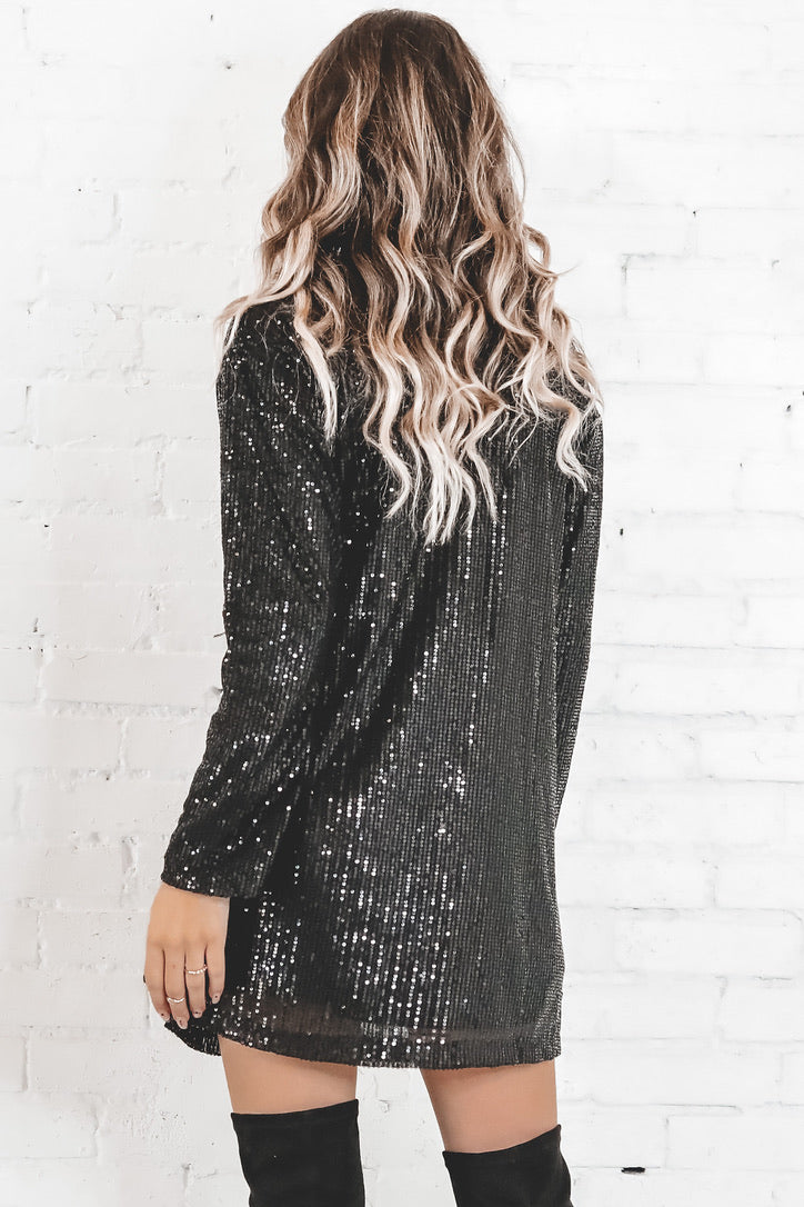 MOTEL Liama Black Stretch Sequin Dress