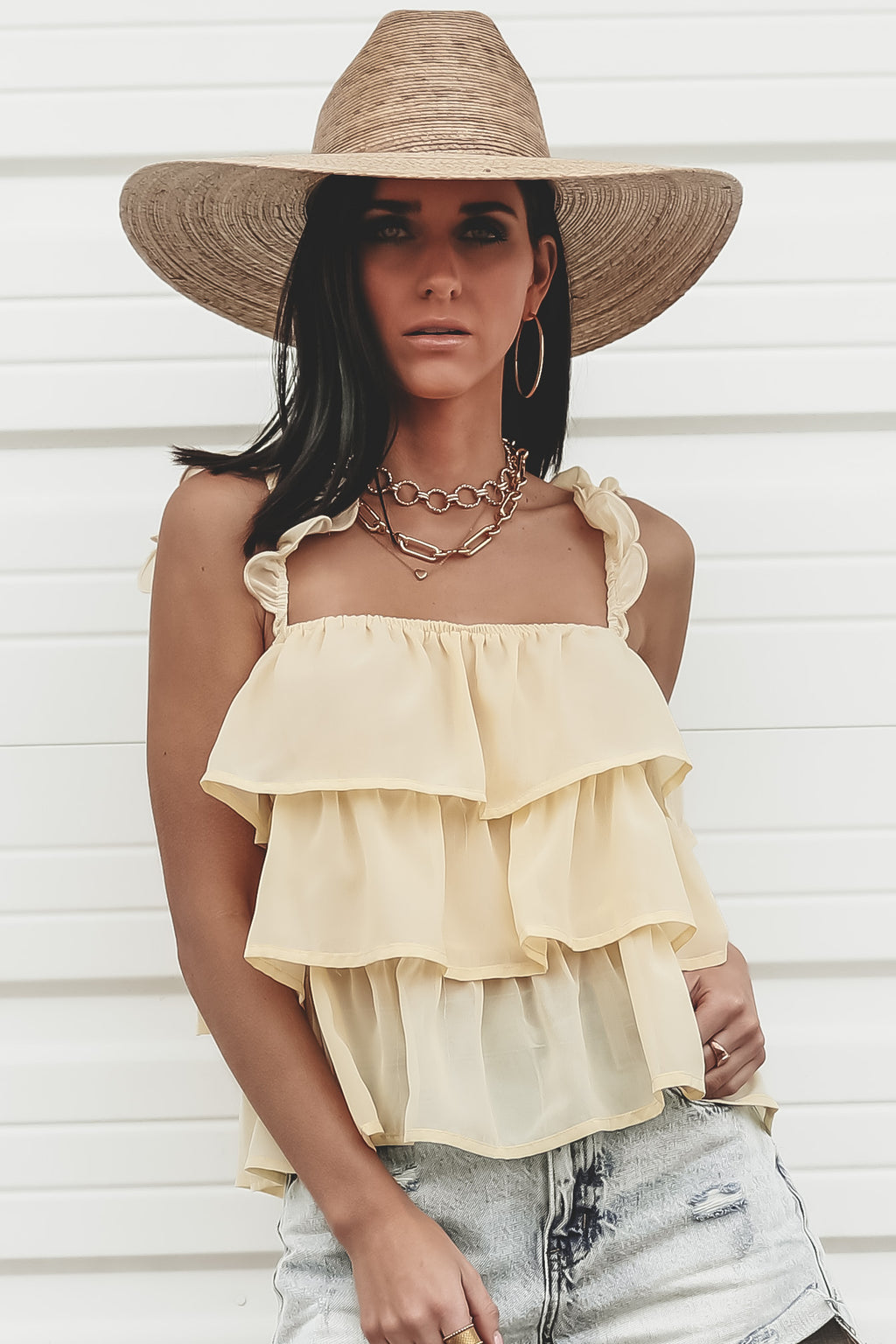 Spring Break Up Butter Ruffle Top