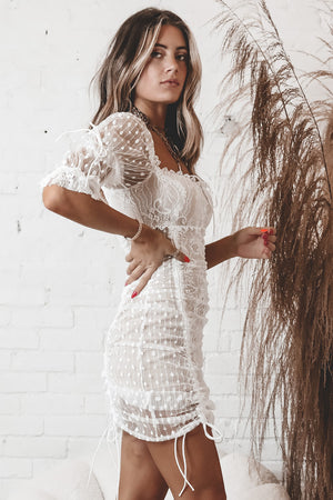 Fall In Lace White Ruched Mini Dress
