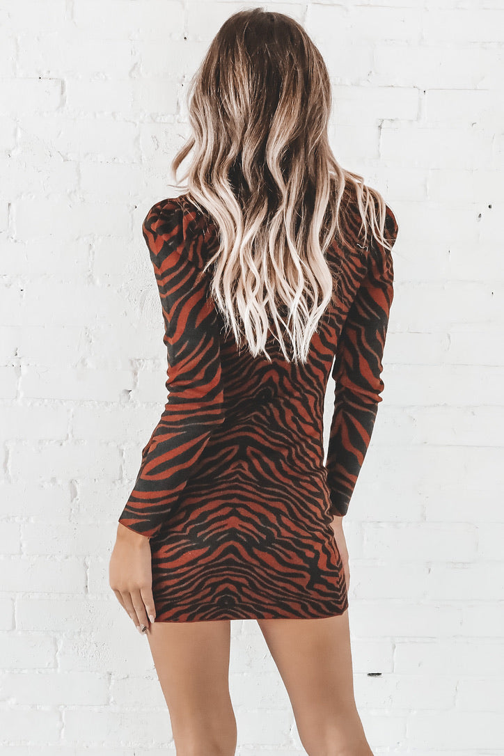 Hit Me With Your Best Shot Brown Tiger Print Dress