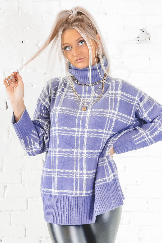Pinch Me Blue Violet Turtleneck Sweater