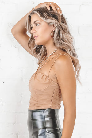 Meet My Standard Nude Ruched Top
