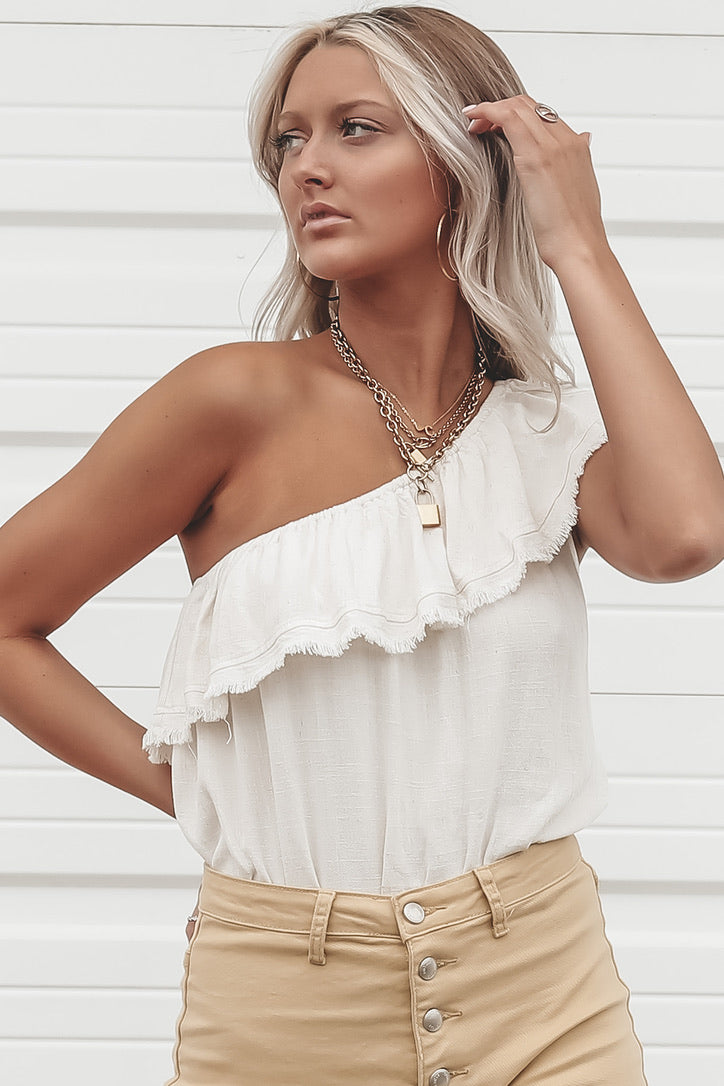 Sandstorm Cream One Shoulder Bodysuit