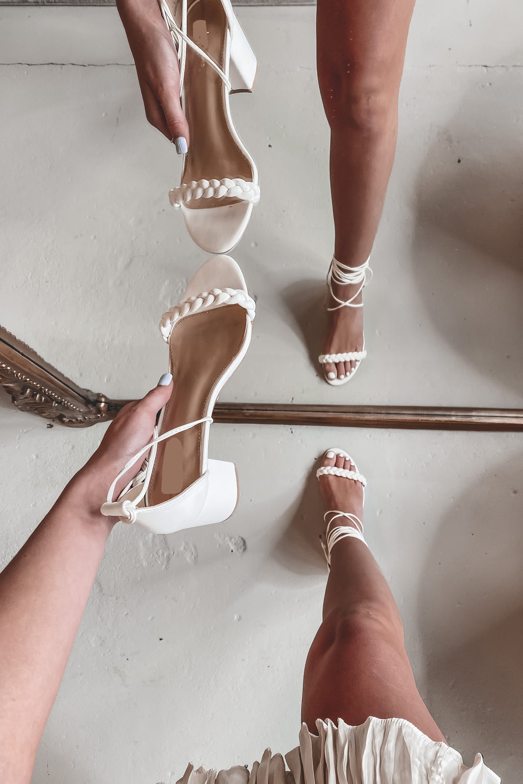 Talk To Me White Strappy Sandals