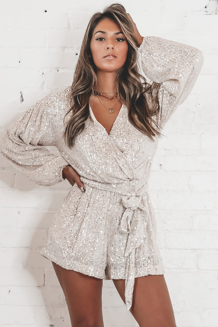 Good Girls Go Gold Long Sleeve Sequin Romper