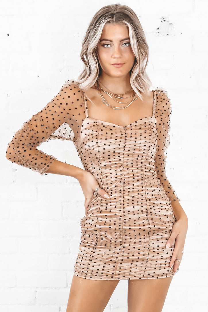 Concrete Jungle Nude Ruched Polka Dot Dress
