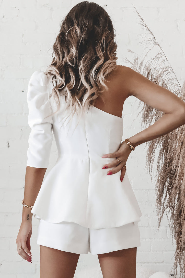 Off To The Show One Shoulder Romper