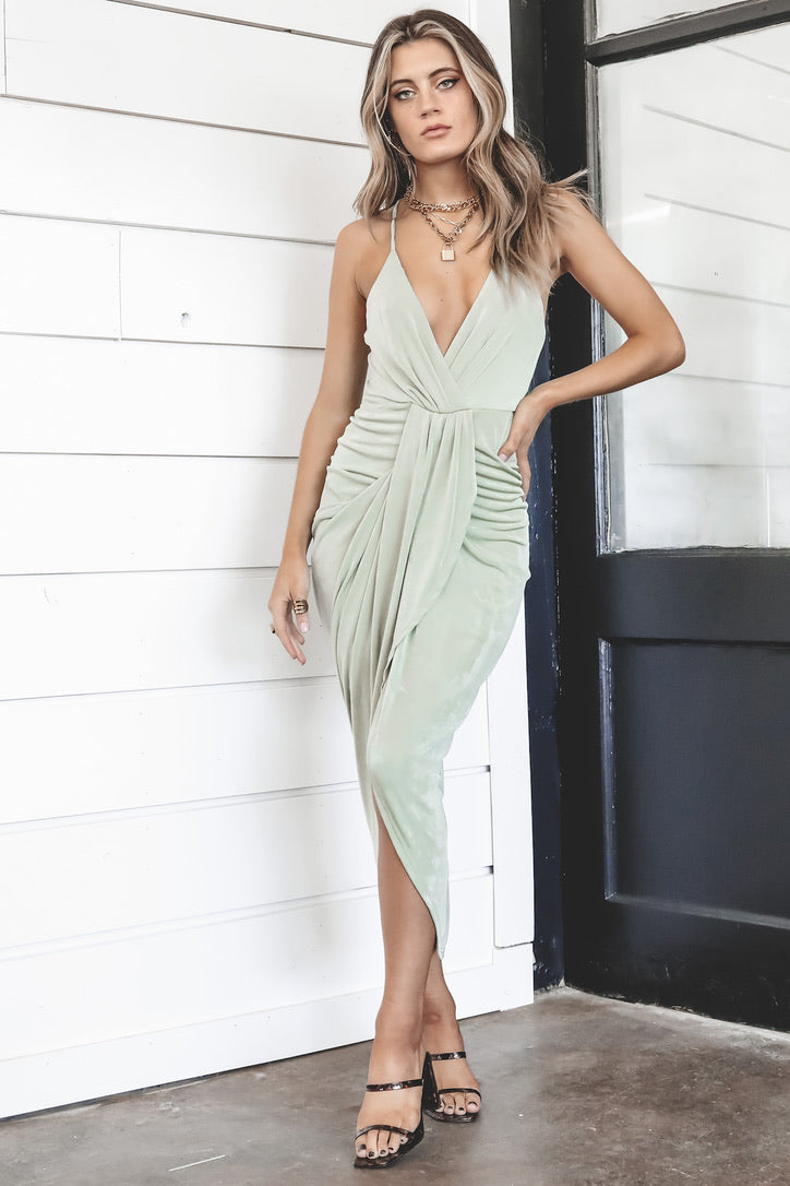 Mind Over Matter Pistachio Midi Dress