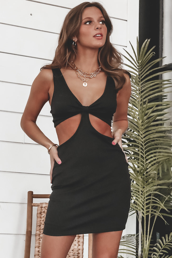 On The Bright Side Black Cutout Dress
