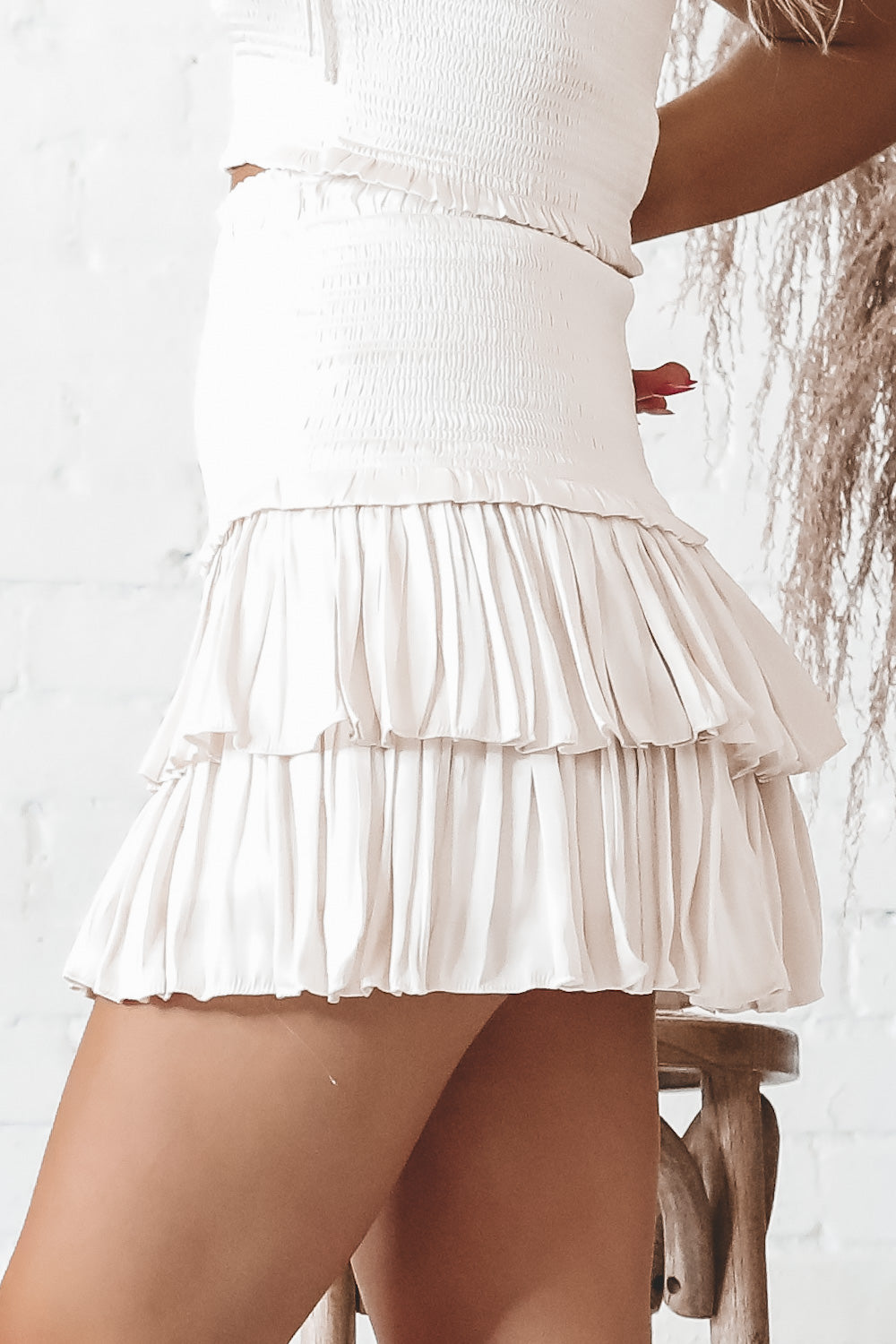 Way You Move Cream Silky Smocked Skirt