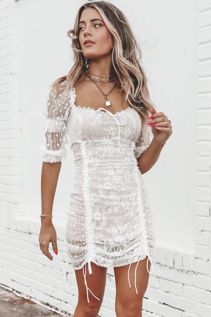 PRE ORDER Fall In Lace White Ruched Mini Dress