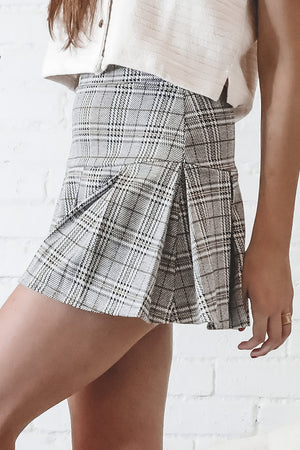 Good Time Gray Combo Plaid Tennis Skirt