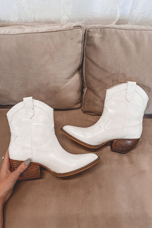 Walk My Way Off White Croc Booties