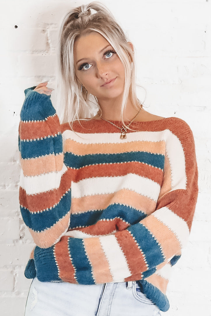 Some Stripe Of Way Multi Color Striped Sweater
