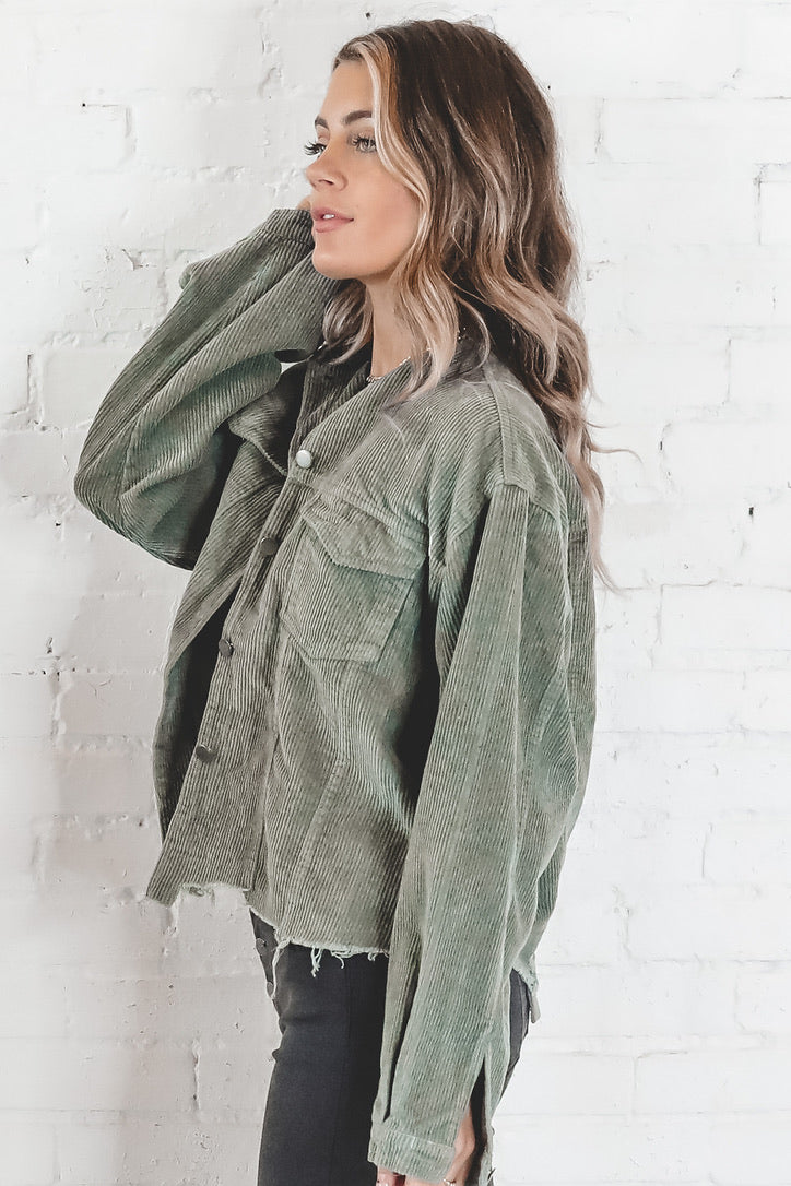 That's A Wrap Olive Distressed Corduroy Jacket