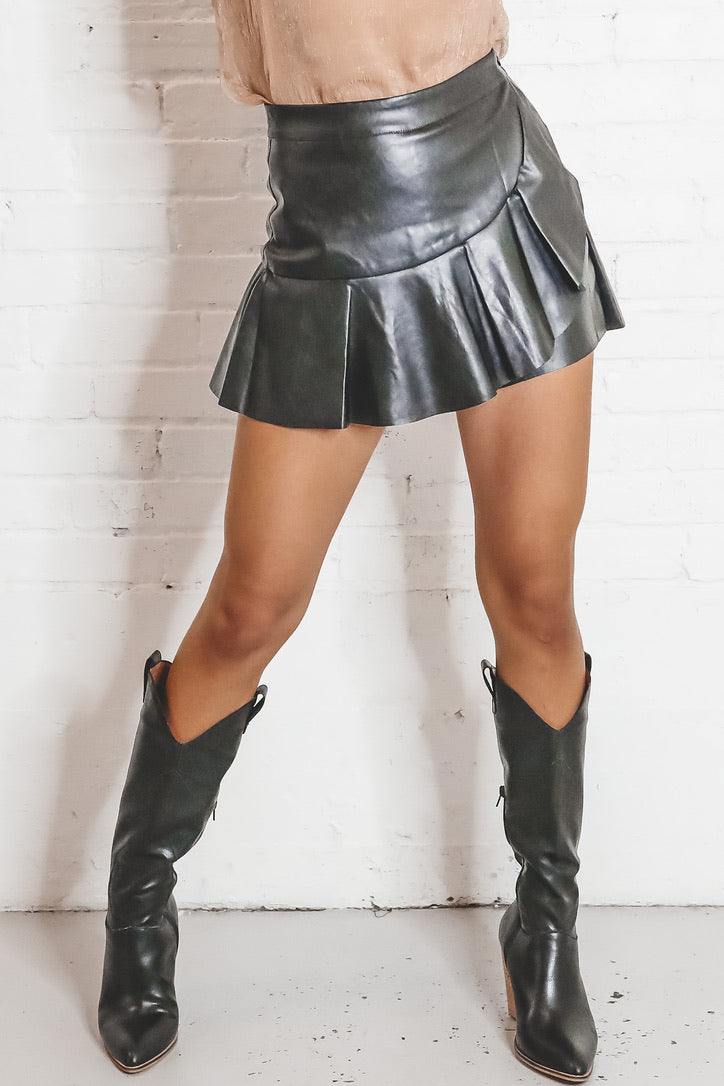 Pour Some Sugar On Me Black Leather Skort