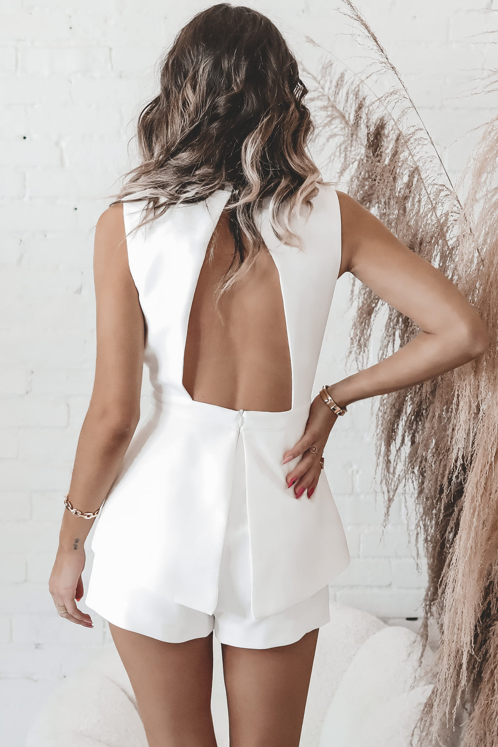 Deep Secrets White Deep V Romper