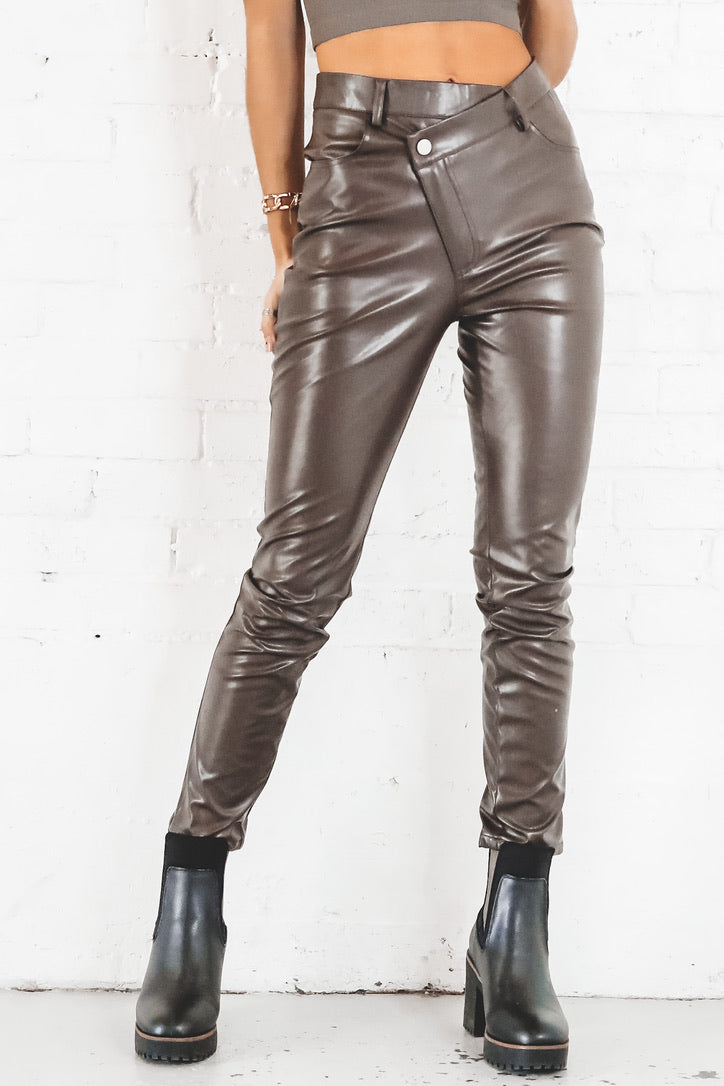 Just Bragging Asymmetric Leather Pants