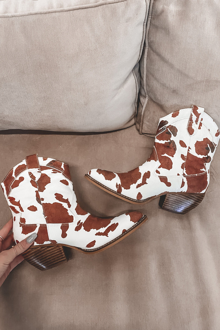 Don't Spot The Music Brown Cow Print Booties