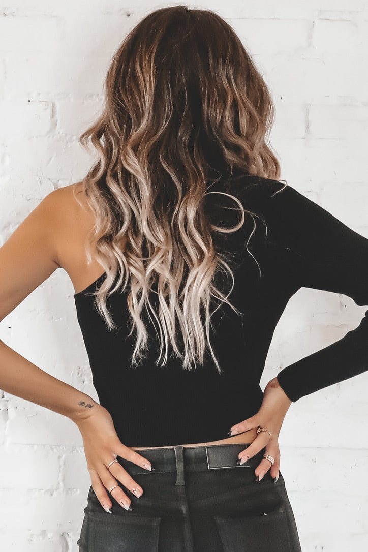 I Make My Own Rules Black One Shoulder Top