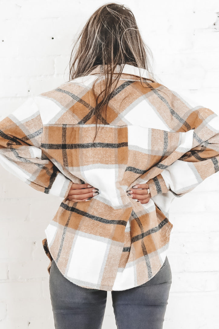 Make The Rules Brown Oversized Plaid Jacket