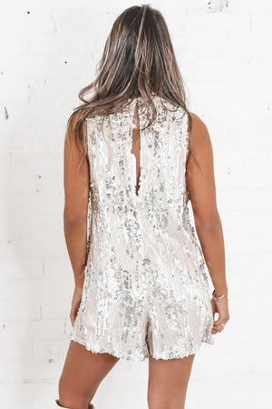 Thank Me Later Silver And Gold Sequin Romper