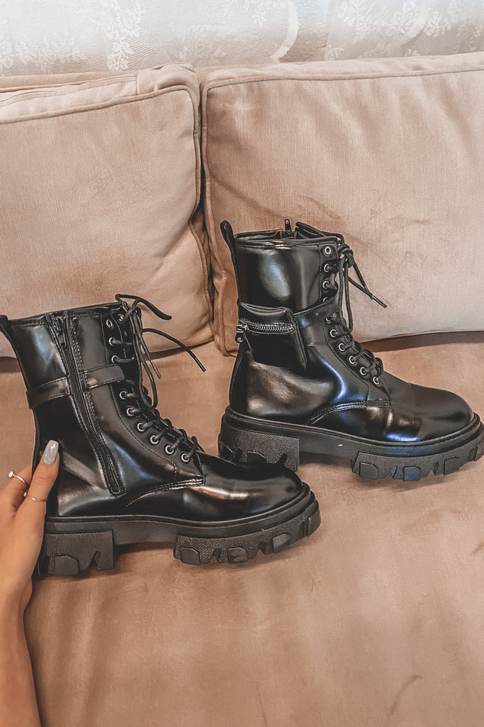 Moving Along Black Leather Combat Boots