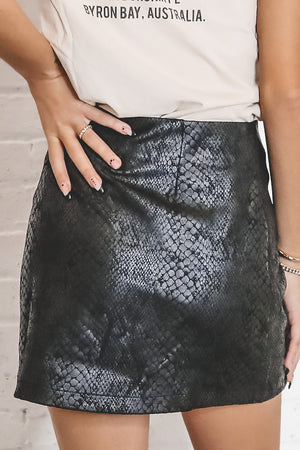 Cruisin' The Town Black Snakeskin Mini Skirt