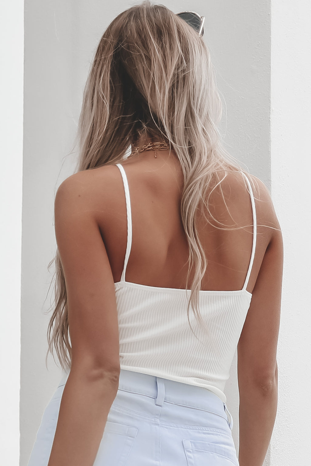 Makin' Waves White Ribbed Bodysuit