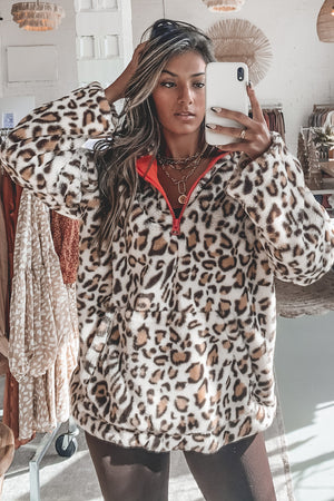 Leopard Is The New Orange Fur Pull Over